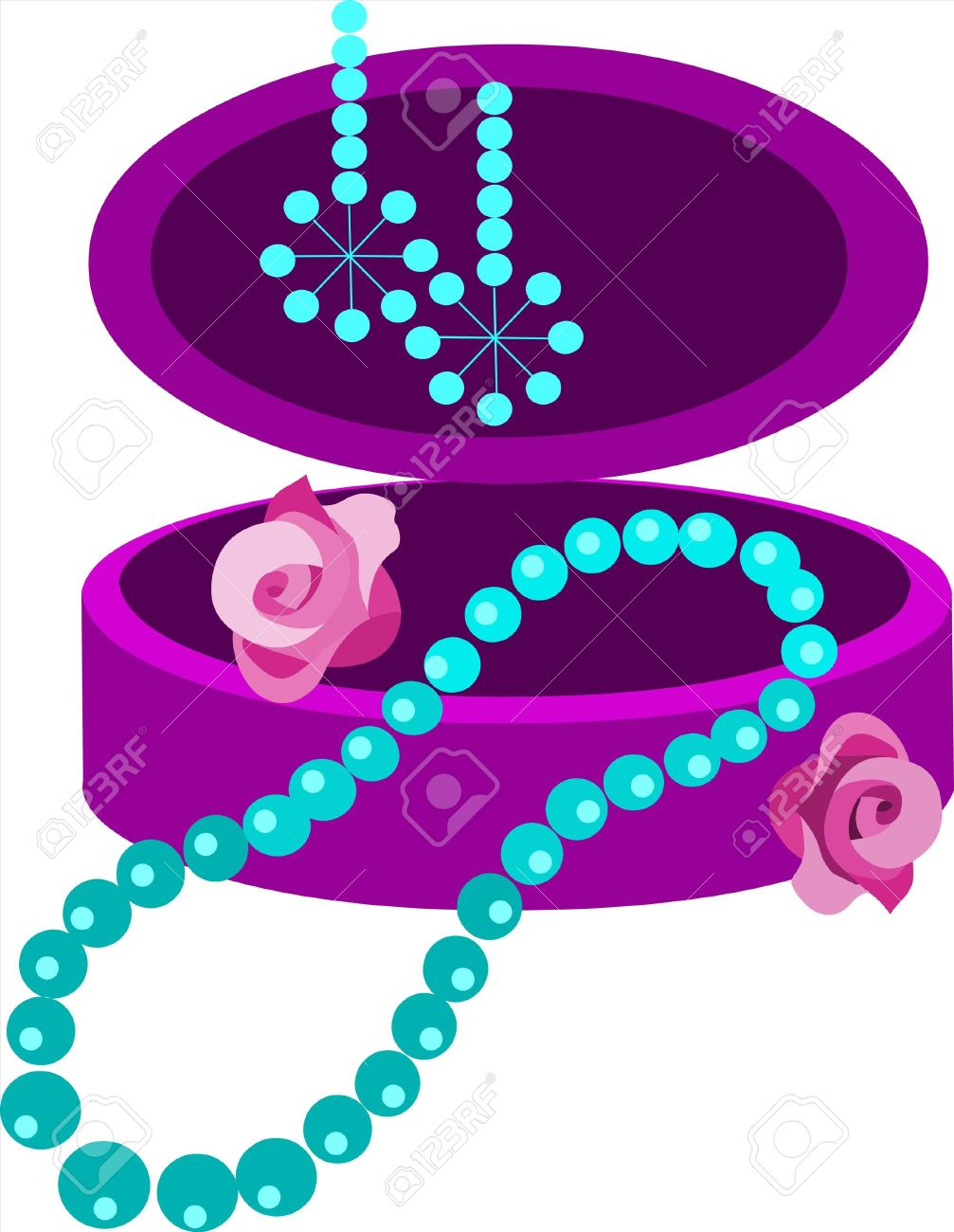 Jewelery Box With Earring And Necklace Royalty Free Cliparts.
