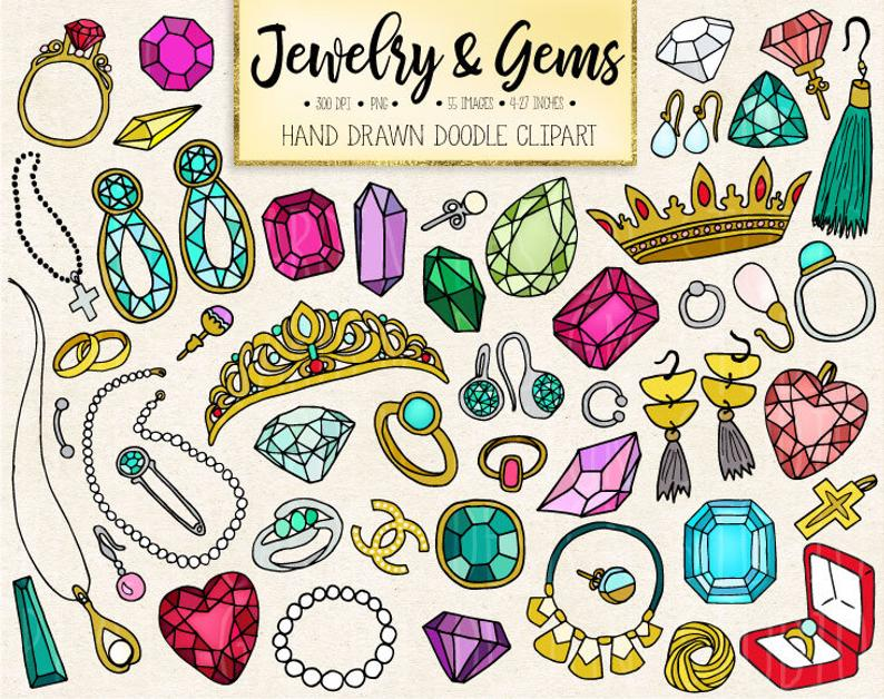 Doodle Gems, Jewelry Clipart. Hand Drawn Gemstone, Jewellery, Emerald,  Diamond Clip Art. Crown, Wedding Ring, Necklace, Earring Illustration.