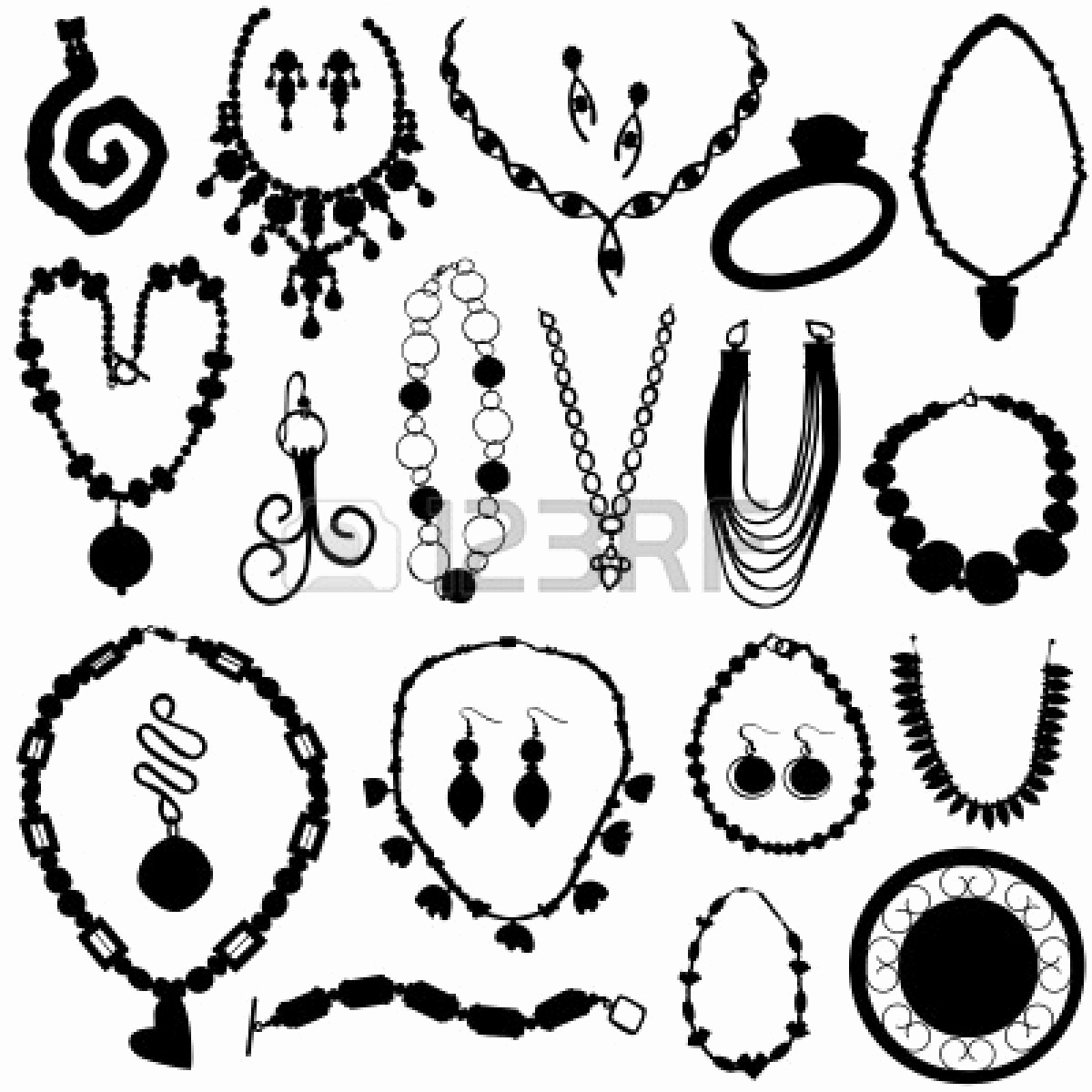 Earring clipart black and white New Jewelry Clip Art Many.