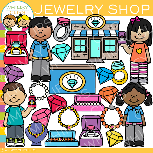 Kids Jewelry Shop Clip Art.