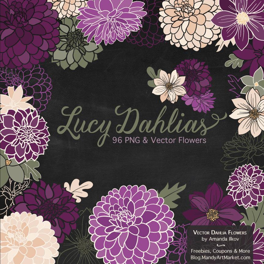 Lucy Dahlia Clipart & Vectors in Plum purple flowers vector by.