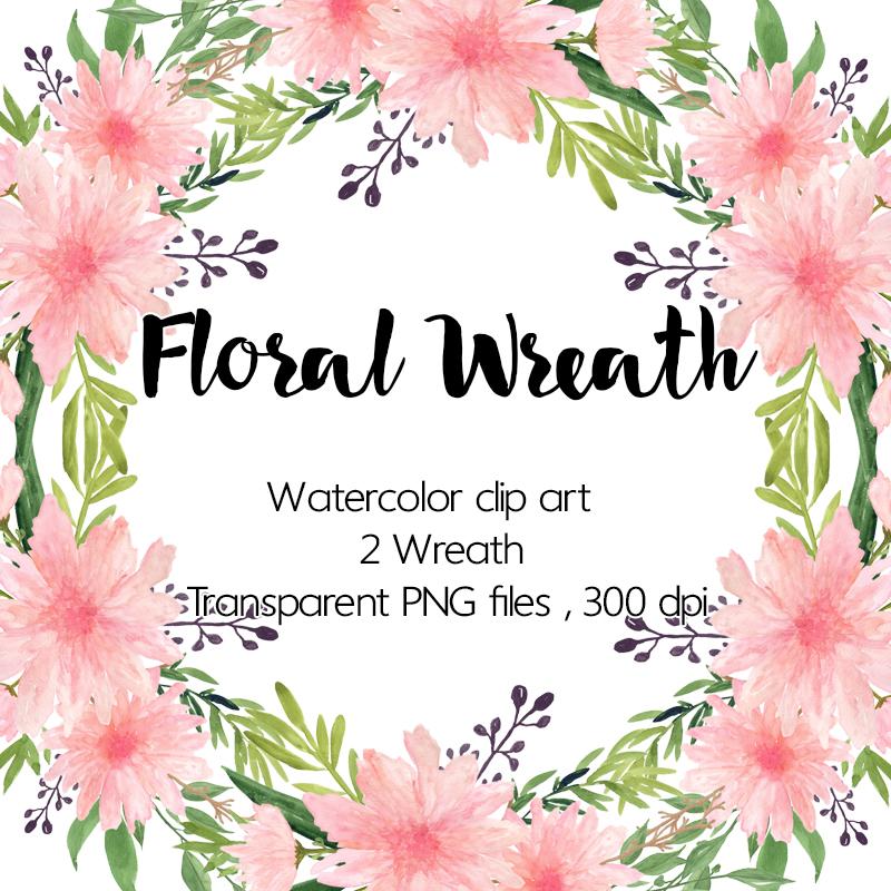 Watercolour Floral Wreath.