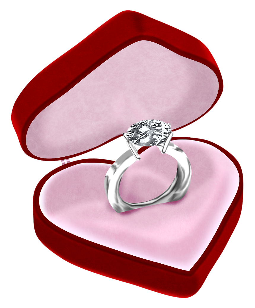 Diamond Ring in Heart Box PNG Clipart Picture.