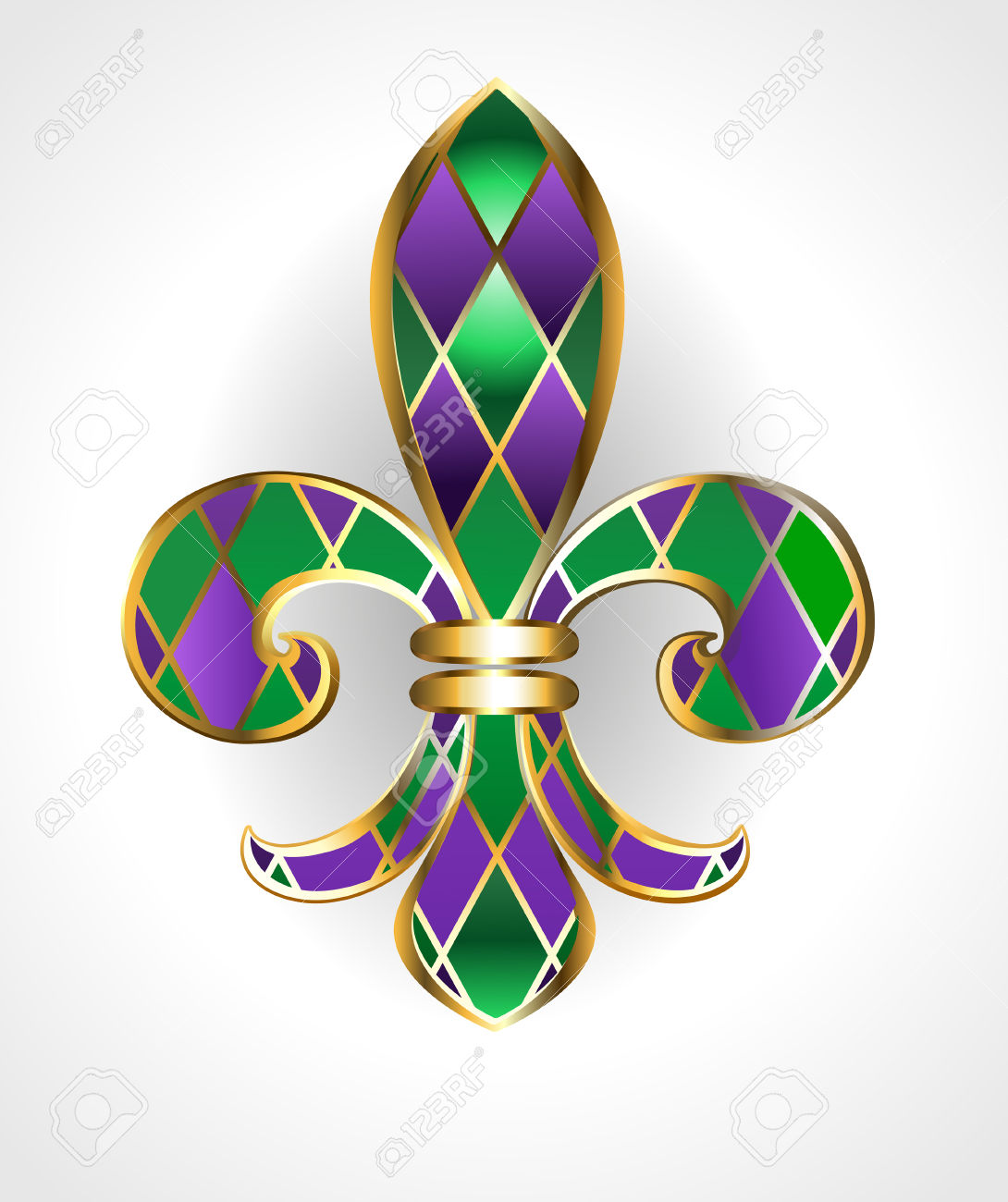 Gold Jewelry Lily, Decorated With Green And Purple Diamonds On.
