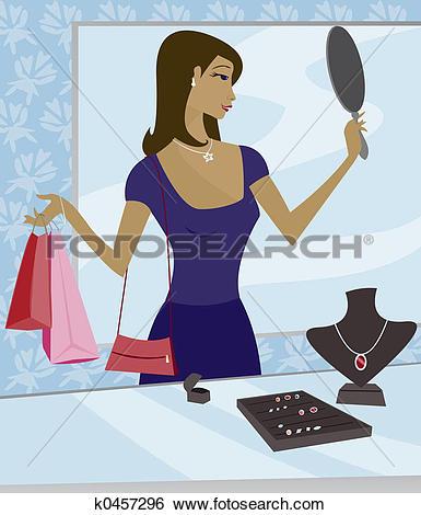 Stock Illustration of shopping for rings rga0018.