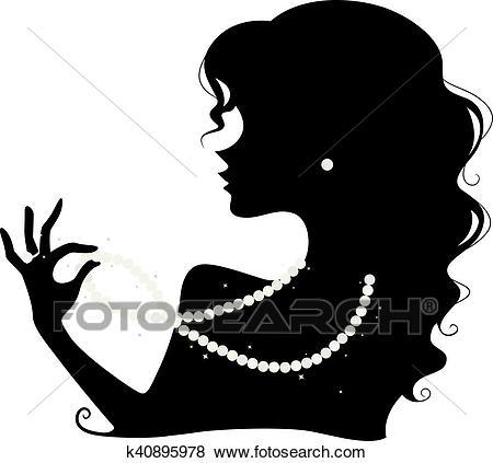 Pearl Jewelry Silhouette Clip Art.