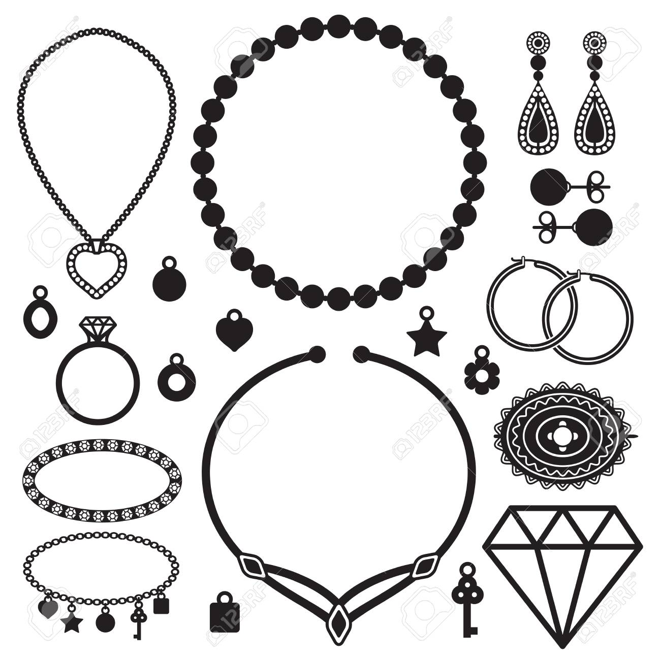 Jewelry silhouette icons vector set.