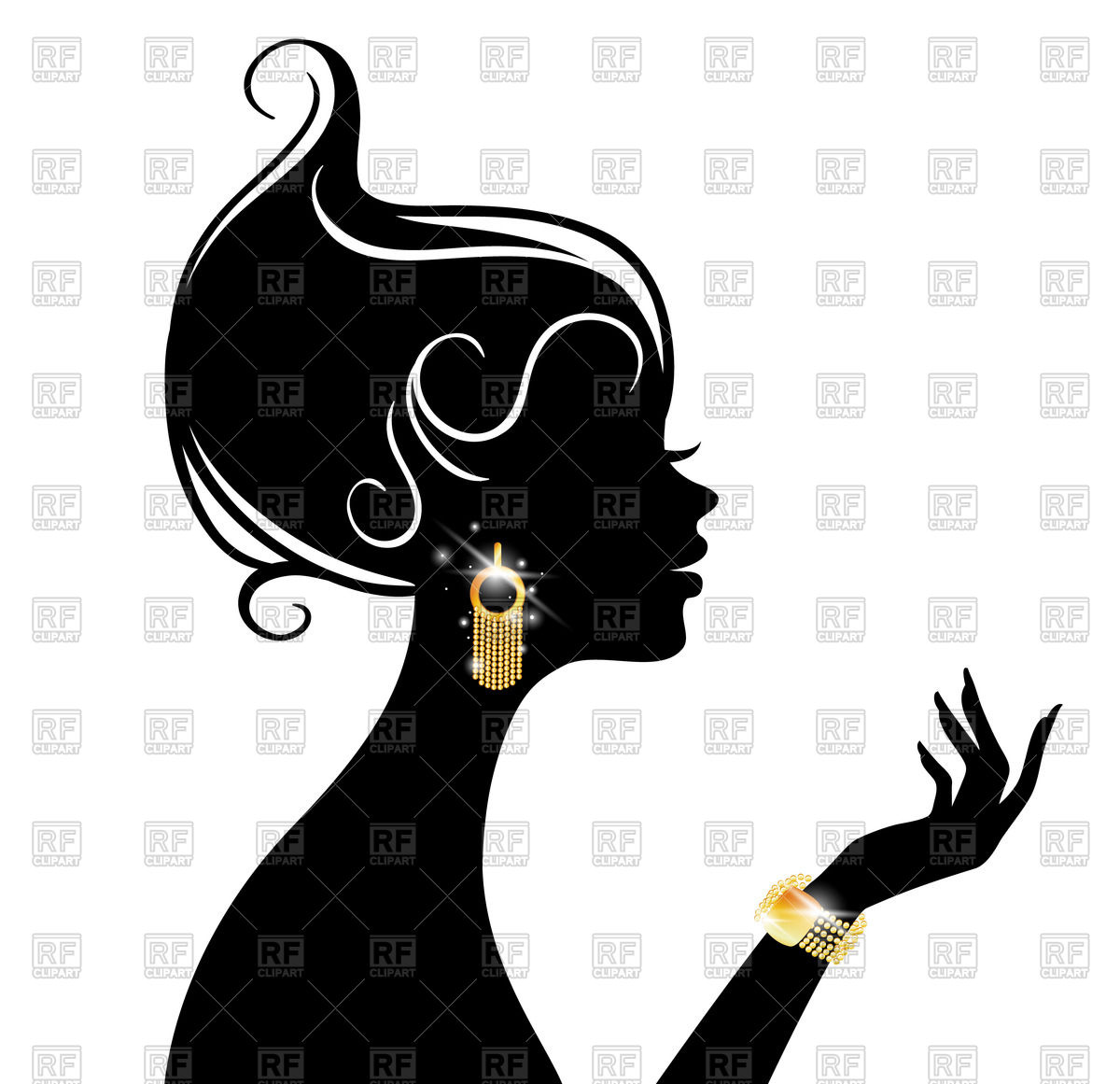 Profile silhouette of elegant woman with sparkling jewellery Stock Vector  Image.