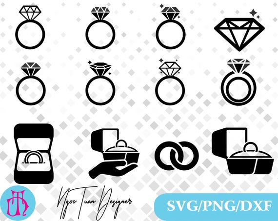 Ring svg/Diamond ring svg,png,dxf /Jewelry clipart for  Print,Design,Silhouette,Cricut and any more.