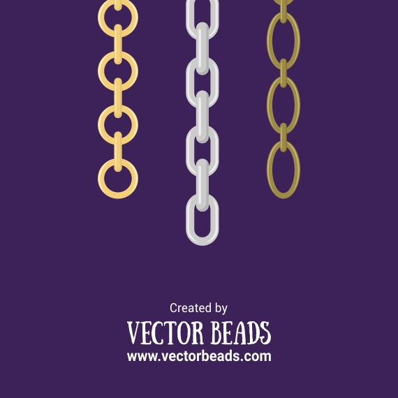 Clipart set of chains for jewelry making.