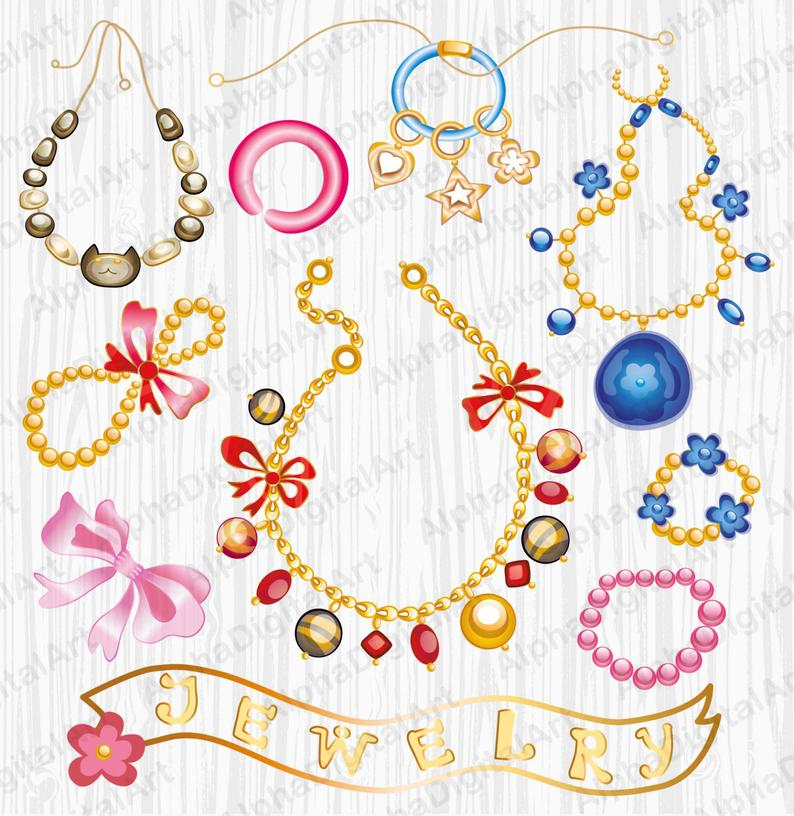 11 Jewelry Clipart,Gem Rings Clipart, Digital Gems, Bracelet Clipart,  Digital necklace, Gemstones Clipart, Digital Jewelry,scrapbooking clip.