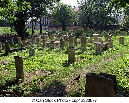 Picture of The Remuh Cemetery in Krakow, Poland, is a Jewish.