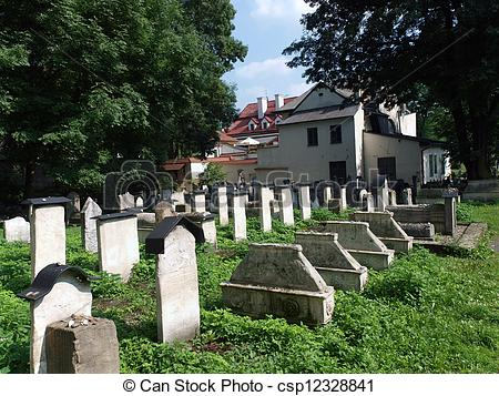Stock Photo of The Remuh Cemetery in Krakow, Poland, is a Jewish.