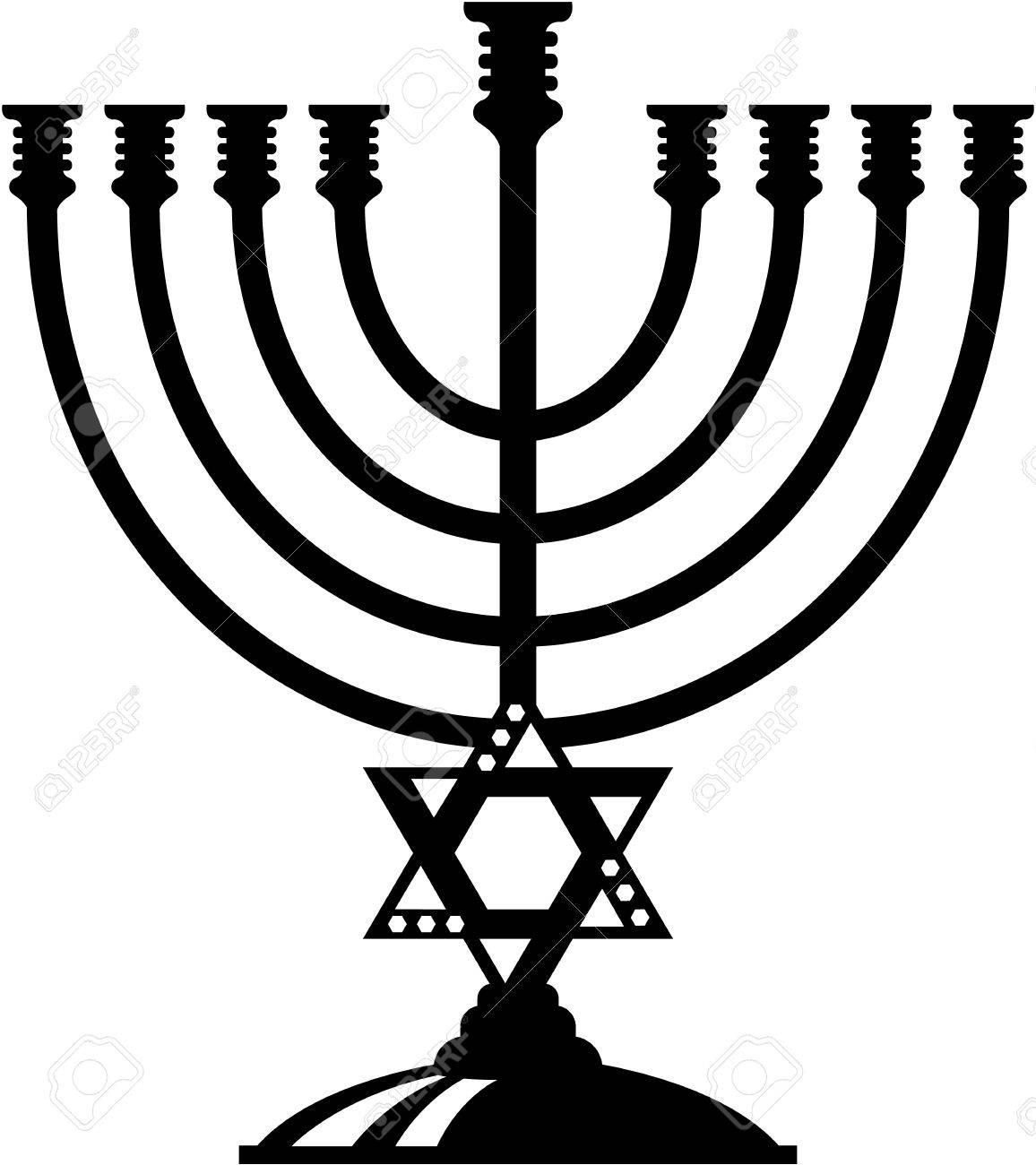 Jewish candle holder vector illustration clip.