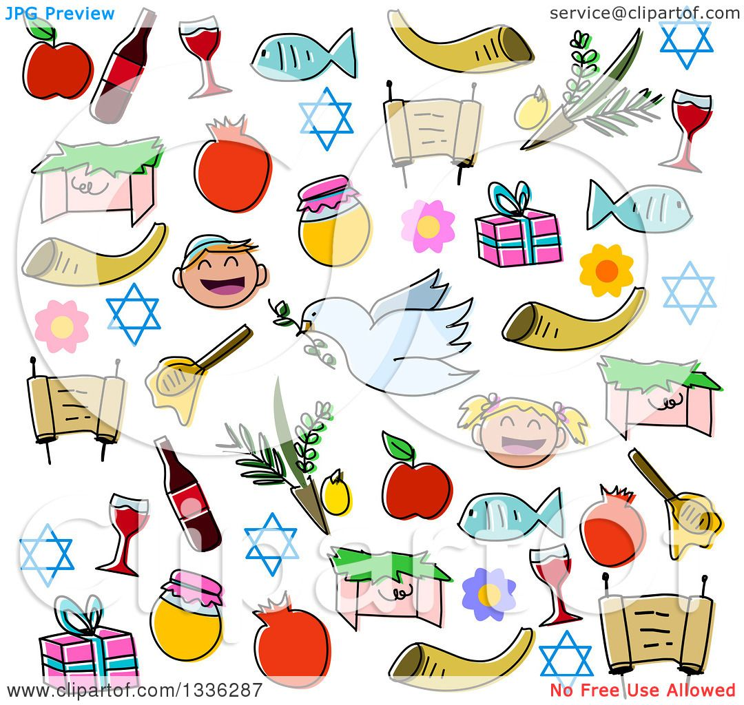 Clipart of Sketched Jewish Rosh Hashanah Items.