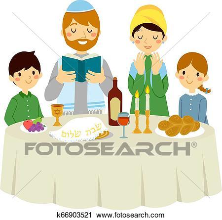 Jewish family on Shabbat dinner Clipart.