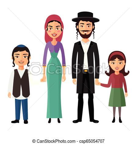Jewish family flat cartoon concept vector isolated.