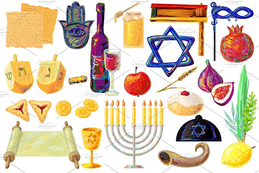 Jewish holidays symbols Clip Art Set.
