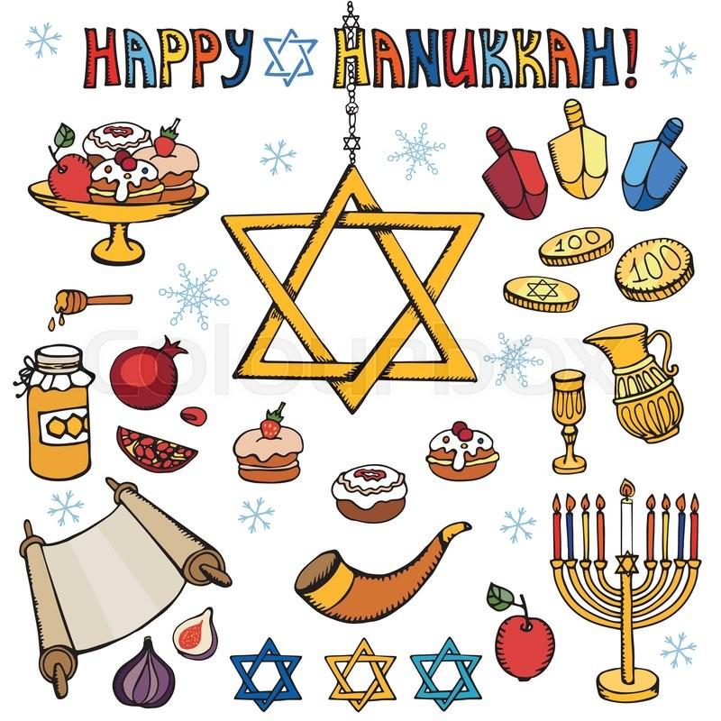Hanukkah symbols set.Doodle hand.