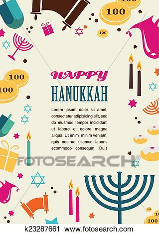 Illustrations of famous symbols for the Jewish Holiday Hanukkah Clipart.