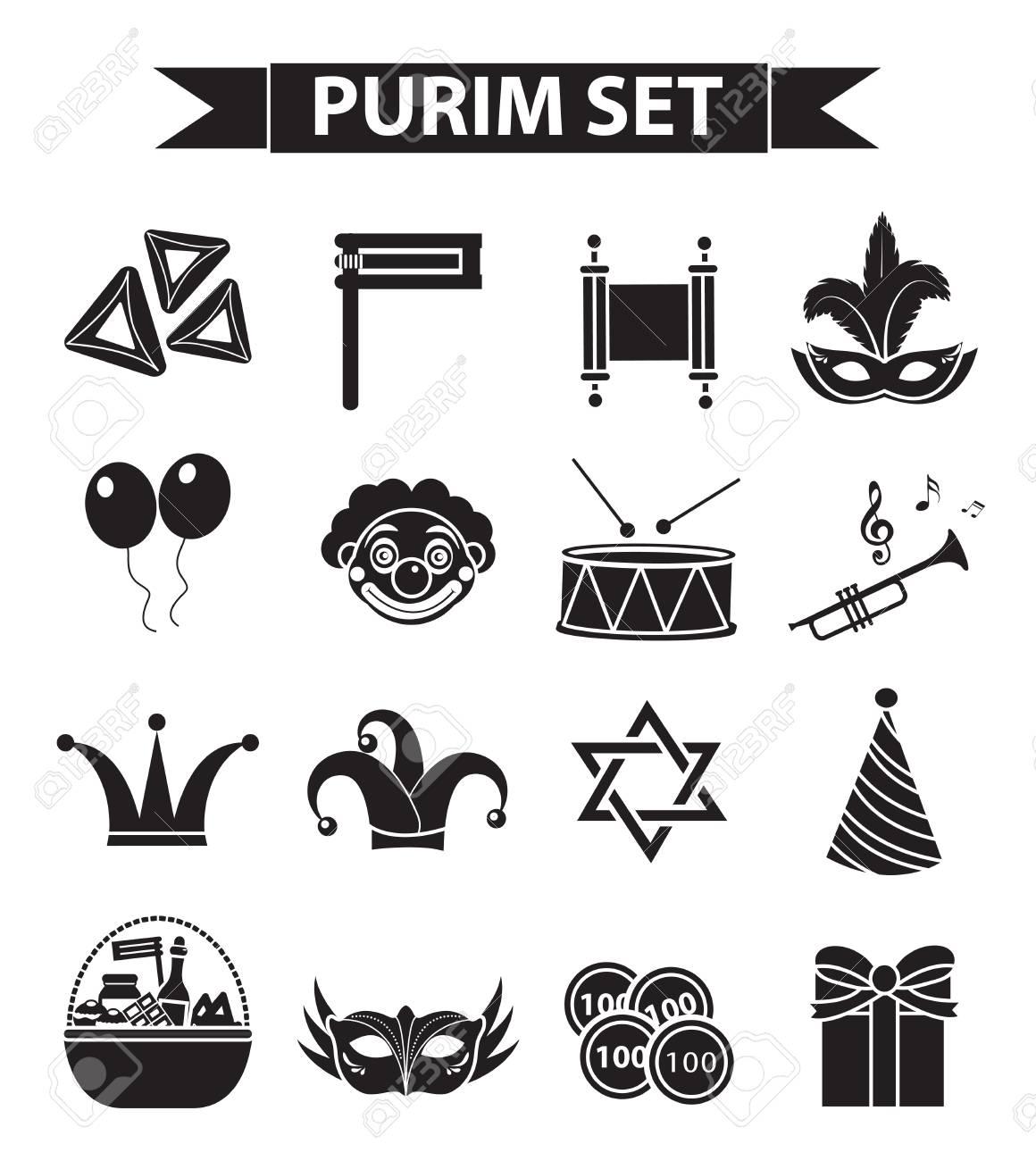 Happy Purim carnival icons set, black silhouette style. Purim...