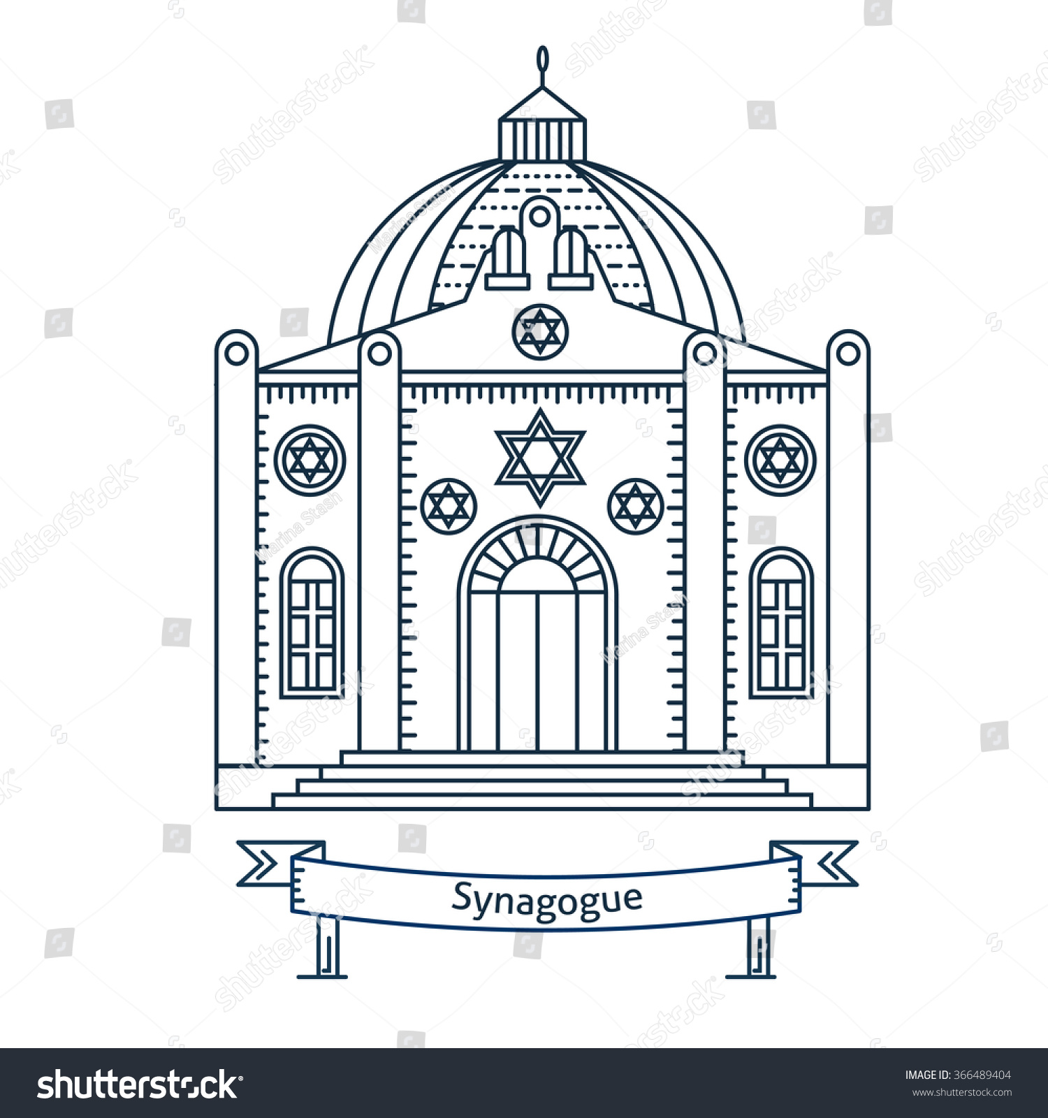 Synagogue Flat Line Vector Illustration Jewish Stock Vector (Royalty.