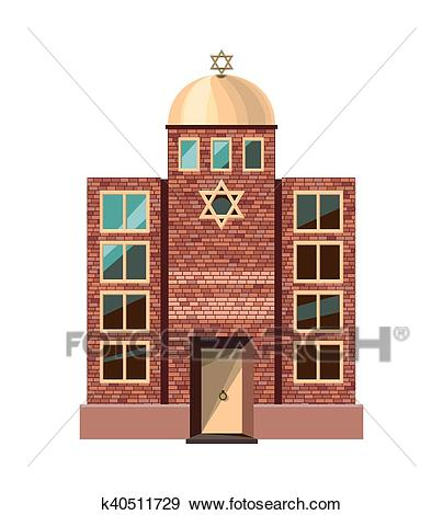 Jewish synagogue icon isolated on white background Clip Art.