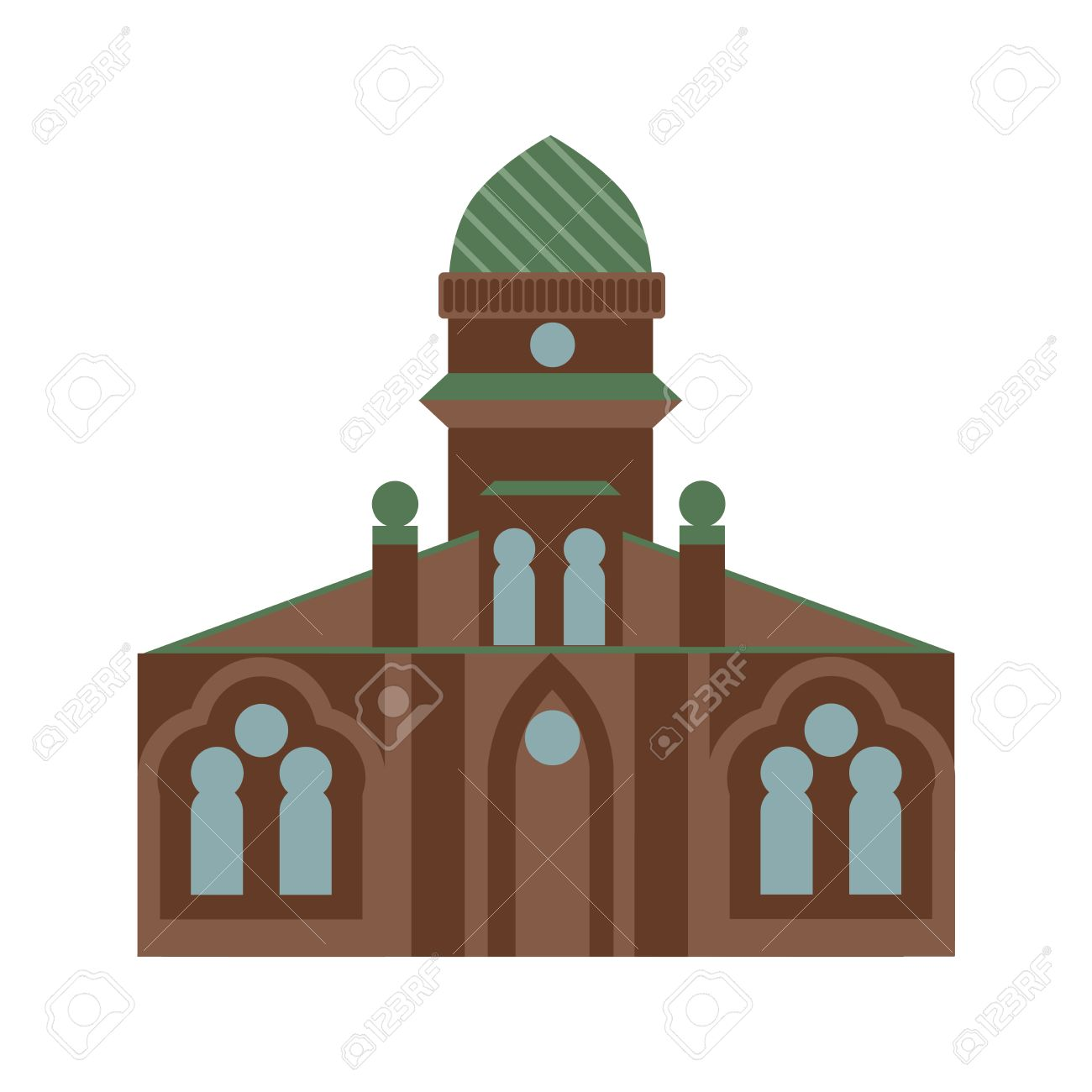 Isolated jewish synagogue on white background. Israel architecture...