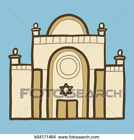 Jewish synagogue icon, hand drawn style Clipart.