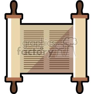 jewish torah scroll flat vector art icon no background clipart.  Royalty.