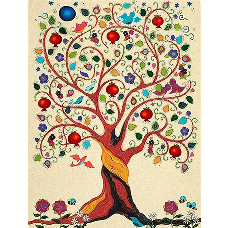 Full Diamond Embroidery Jewish Tree of Life Clip Art Mosaic Pictures.