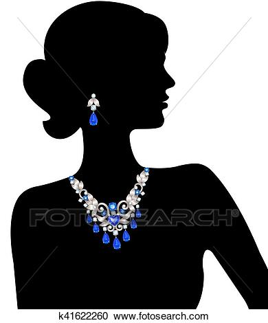 Woman with jewelry Clipart.