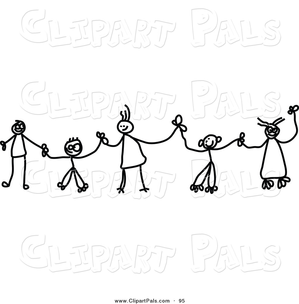People Holding Hands In A Line Clipart.
