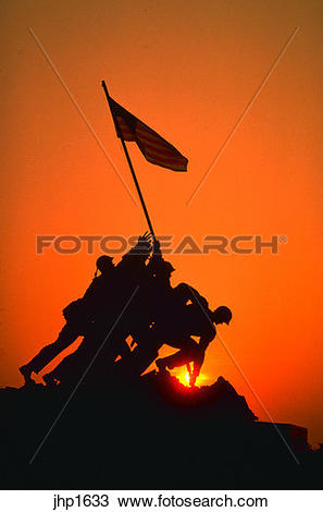 Stock Photo of Marine Corps Memorial at sunrise in Washington, DC.