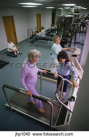 Stock Photography of Patient in cardiac rehabilitation exercise.