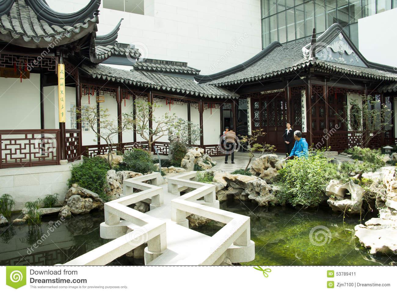 Asia Chinese, Beijing, China Garden Museum, Indoor Courtyard.