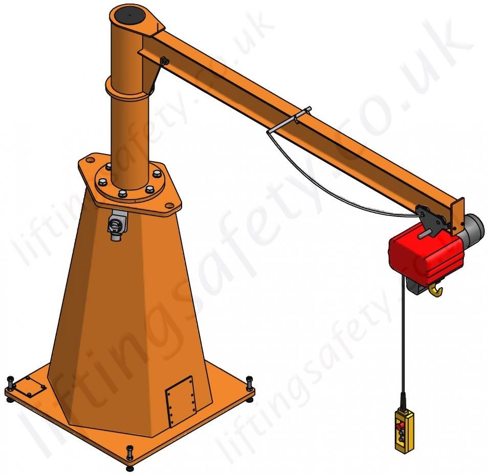 Vetter Portable Pillar Jib Crane with Max Reach 5000mm.