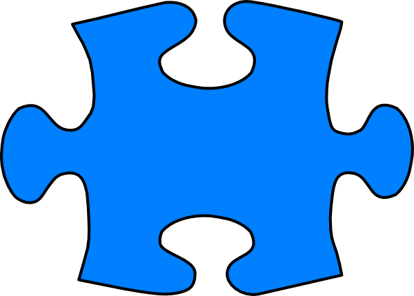 Blue Jigsaw Puzzle Piece Large clip art.