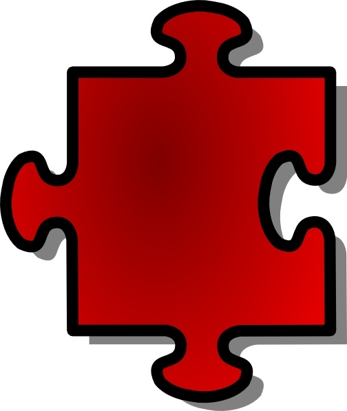 Jigsaw Red Puzzle Piece clip art Free vector in Open office.