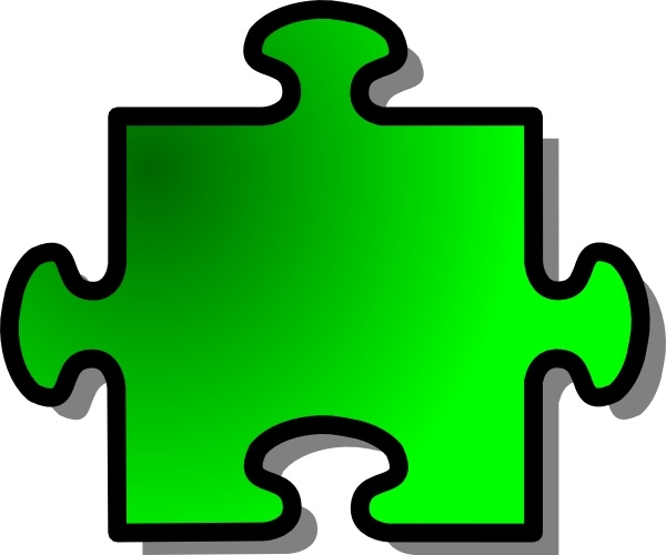 Green Jigsaw Puzzle clip art Free vector in Open office drawing.