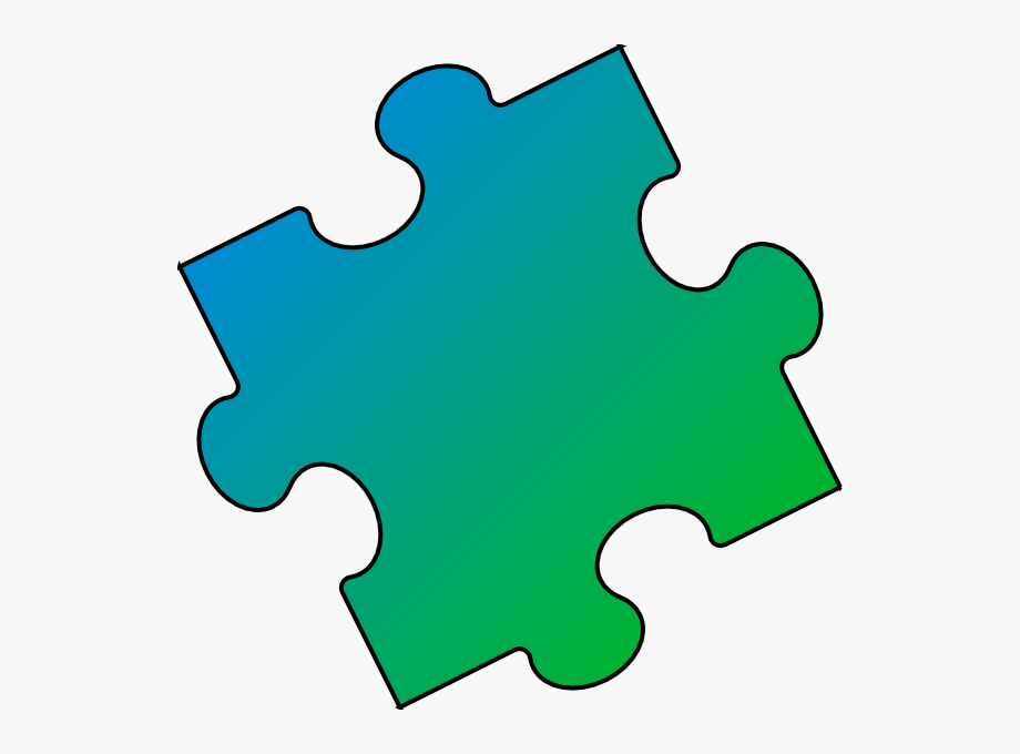 Blue Green Puzzle Piece.