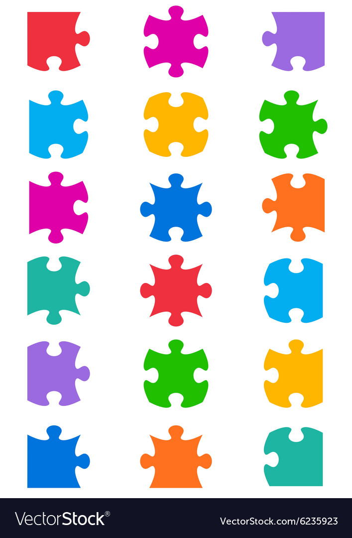 All possible shapes of jigsaw puzzle.