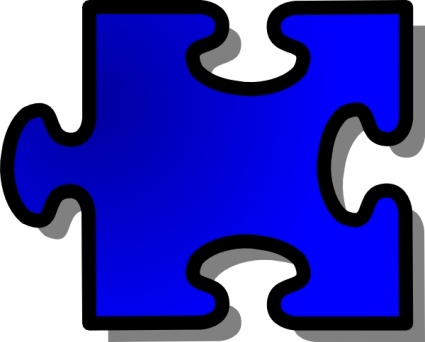 Blue Jigsaw Puzzle Piece clip art free vector.