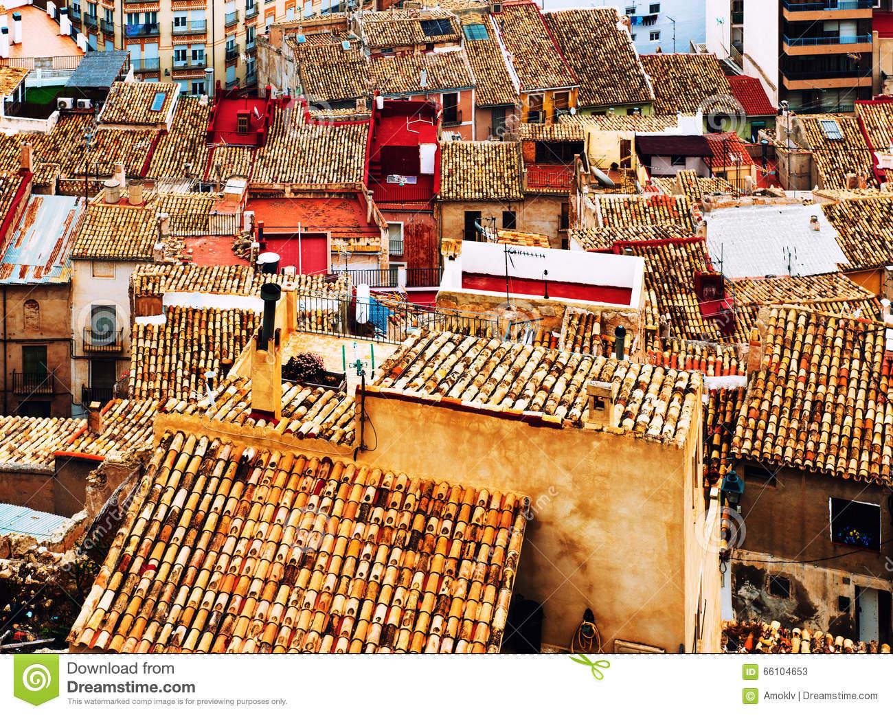 Jijona (Xixona) Rooftops. Spain Stock Photo.