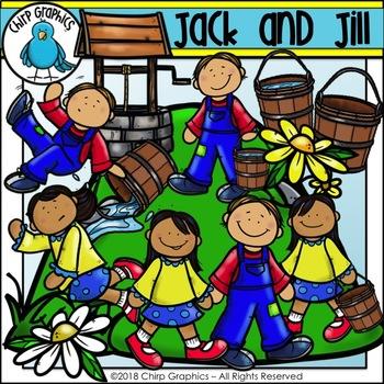 Jack and Jill Nursery Rhyme Clip Art Set.