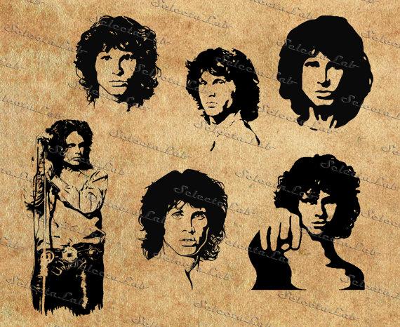 Digital image Jim Morrison inspired, instant download, clipart.
