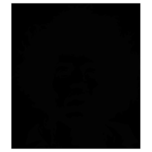 Jimi Hendrix Black and white Portrait Stencil Guitarist.
