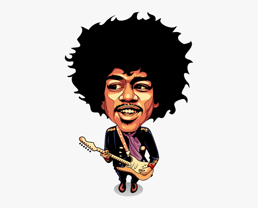 Jimi Hendrix Caricature Cartoon Drawing.