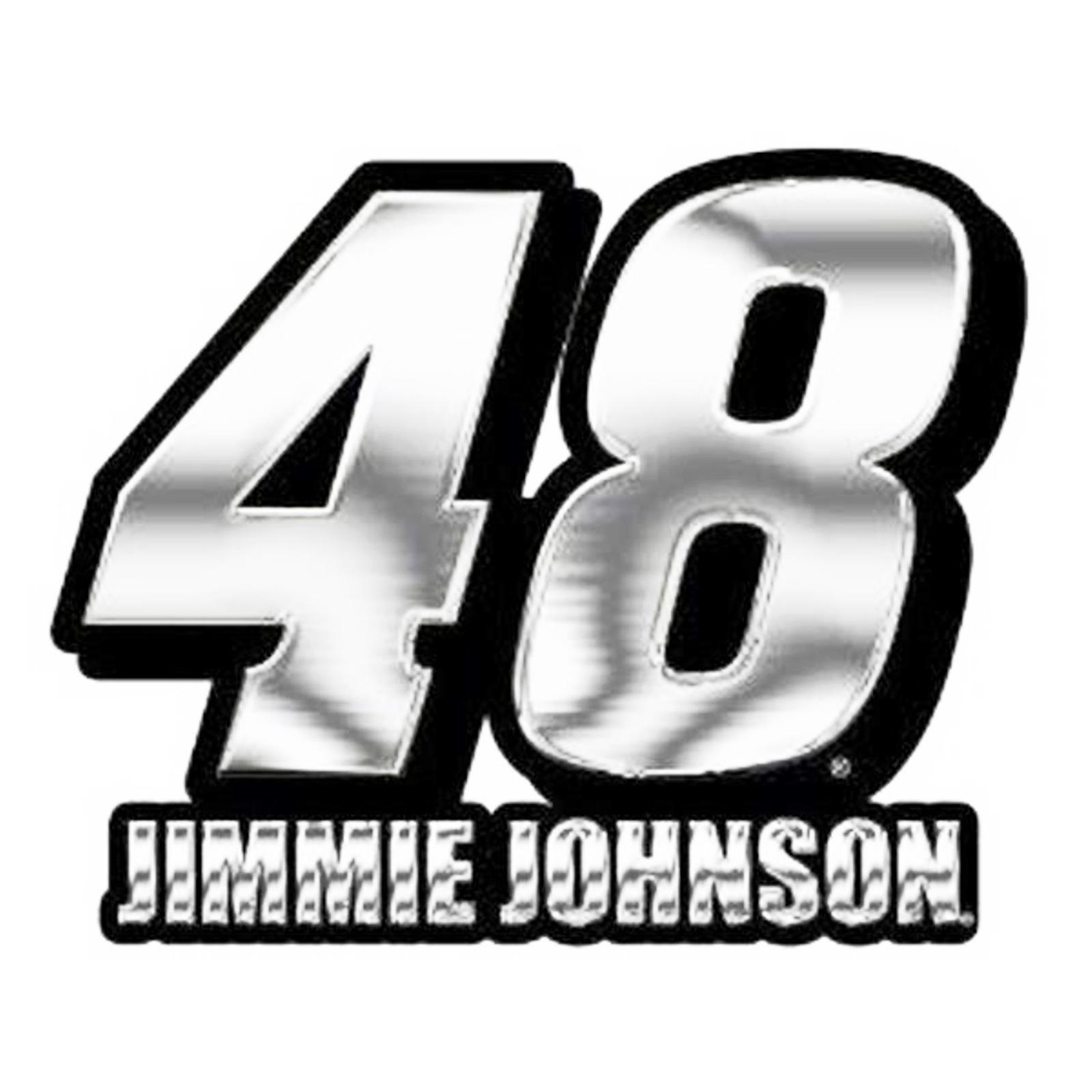 Details about Jimmie Johnson #48 CE Silver Chrome Color Auto Emblem Raised  Decal Nascar Racing.