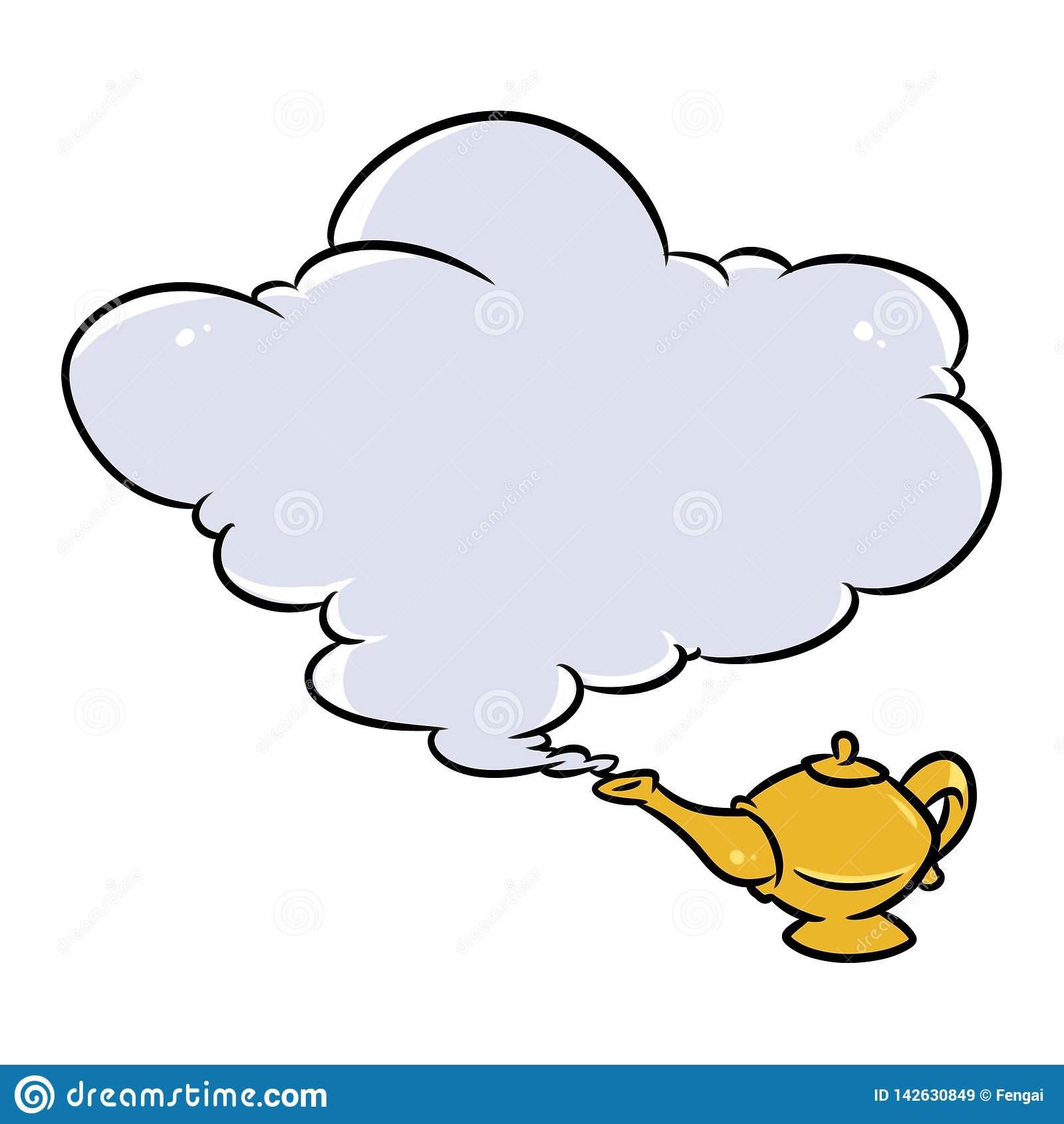 Aladdin Magic Lamp Jin Cloud Cartoon Stock Illustration.